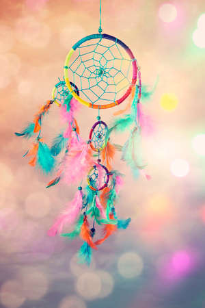 Dream catcher and abstract bokeh background Archivio Fotografico