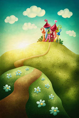 folk tales: Fantasy castle in the meadow Stock Photo