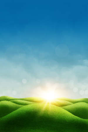 dreamy: Spring meadow, blue sky and sun