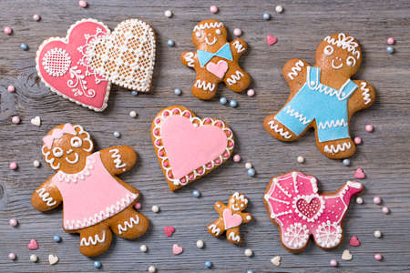 gingerbread cookies: Gingerbread cookies on a wooden background Stock Photo