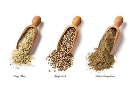 Hemp seeds and flour isolated on a white background Archivio Fotografico