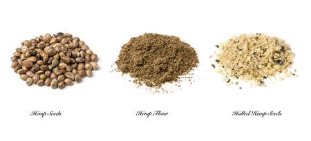 graines et la farine de chanvre isolé sur un fond blanc