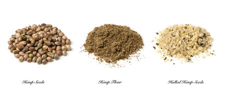 Hennep zaden en bloem geïsoleerd op een witte achtergrond