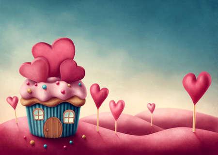casita de dulces: Fantasía copa de la casa pastel con corazones