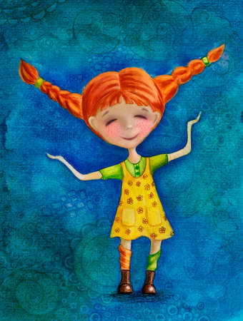 naughty girl: Watercolor Illustration of Pippi Longstocking