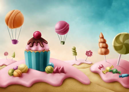 candies: Fantasy candyland with cupcake and bonbons Stock Photo