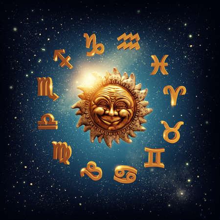 aries zodiac: The sun surrounded by zodiac signs