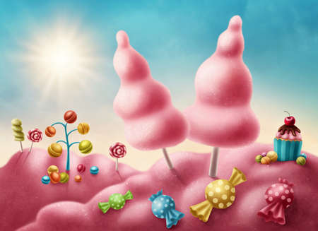 Fantasy candyland with cupcake and bonbons Archivio Fotografico