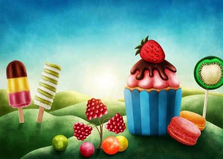 bonbons: Fantasy candyland with cupcake and bonbons Stock Photo