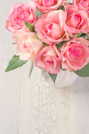 Pink Roses In A White Vase Stock Photo Picture And Royalty Free