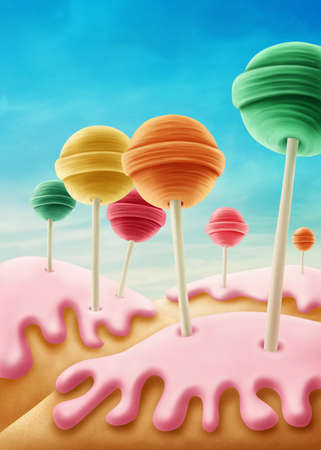 dream land: Fantasy candyland with lolly pops