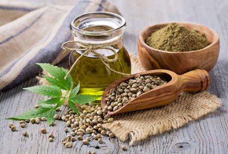 hemp: Hemp oil n a glass jar and hemp seeds