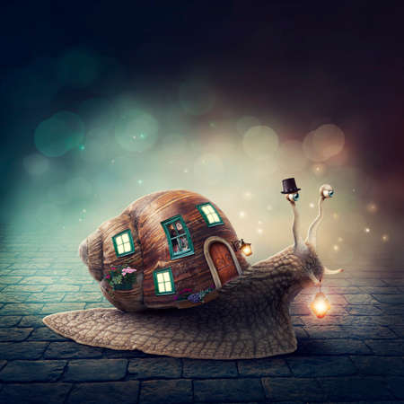 gastropoda: Snail with a shell house with light Stock Photo