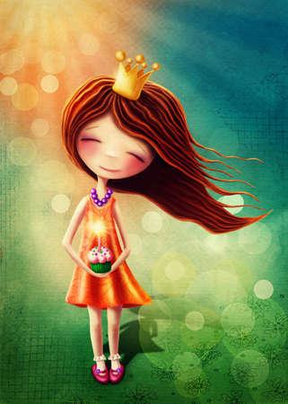 folk tales: Little fairy girl with birthday cup cake