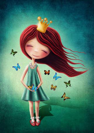 Little fairy girl with butterflies