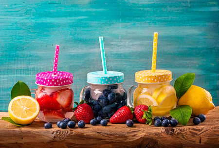 summer fruit: Summer fruit drinks on a wooden table