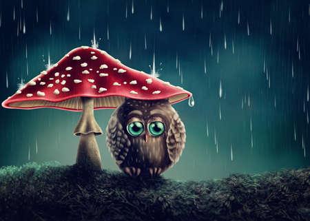 Little owl sitting under mushrooms Stockfoto