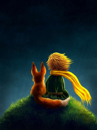 Little prince and the fox Stock Photo
