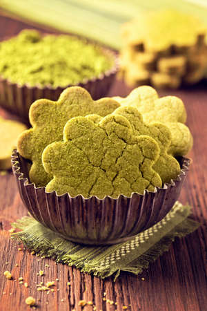 cakes and pastries: Matcha green tea cookies on a wooden table