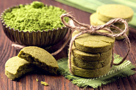Matcha green tea cookies on a wooden table