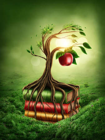 garden of eden: Tree of knowledge and forbidden fruit growing out of book