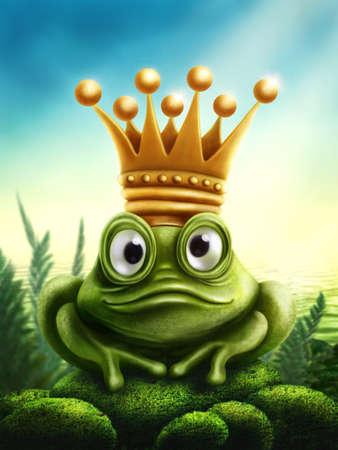 principe rana: Ilustraci�n del pr�ncipe de la rana con la corona de oro