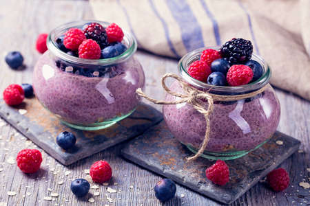 Chia seeds acai pudding with berries Stockfoto