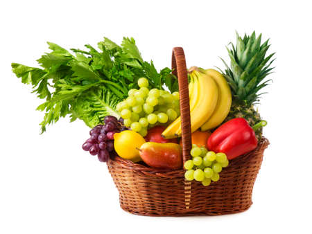 fruit basket: Vegetables and fruits isolated on a white background