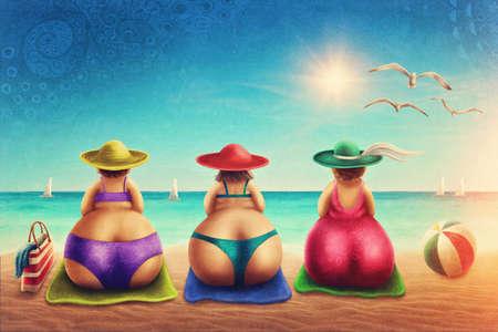 Leuke mollige vrouw, zittend op het strand