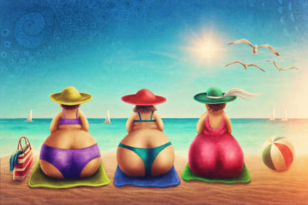 Cute plump woman sitting on the beach Stockfoto