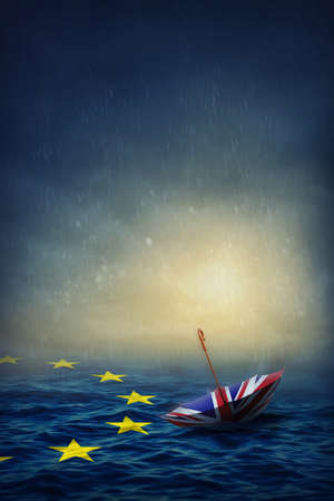 skepticism: Umbrella with the flag of the United Kingdom and sea with the flag European Union.Brexit concept. Stock Photo