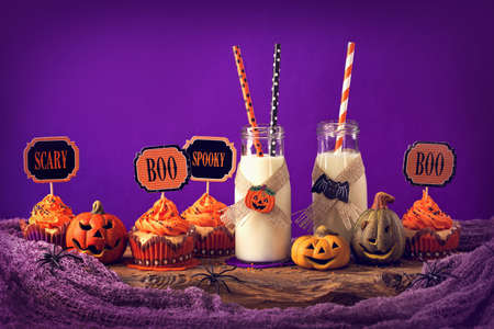 Cupcakes with milk for halloween party
