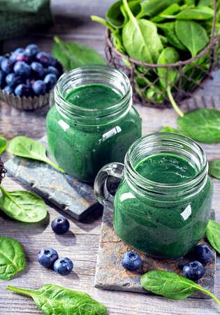 spirulina: Green smoothie with spirulina,spinach and blueberries