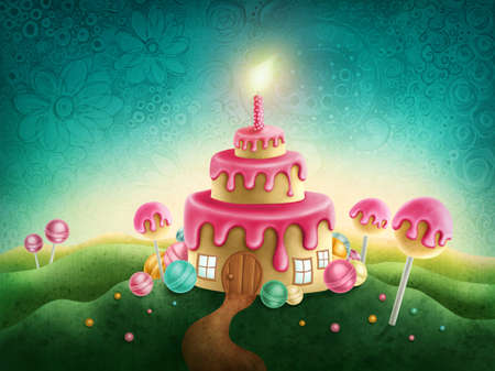 magical: Fantasy sweet land with birthday cake and candle Stock Photo