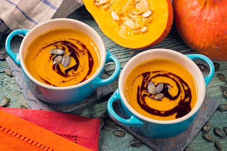 Pumpkin soup in a pot