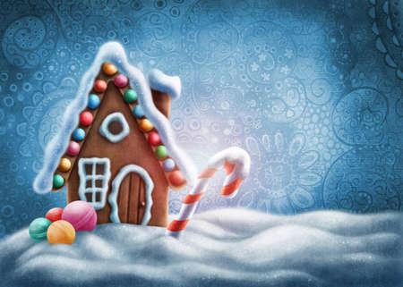 casita de dulces: Ilustración de una casa de pan de jengibre Foto de archivo