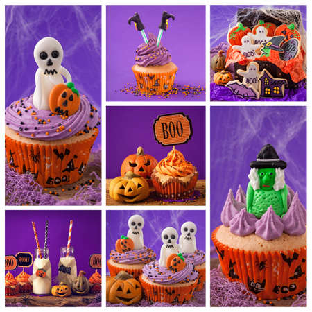 Collage with halloween sweets photos