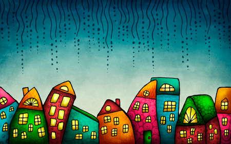 fantasia: Ilustração de casas coloridas fantasia