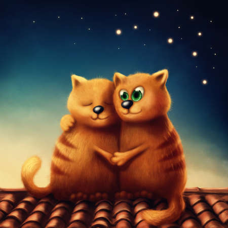 magical: Illustration of red cats in love