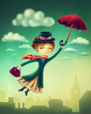 都市上空を飛行傘を持った女性