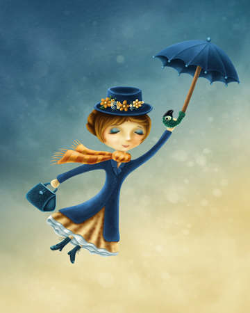 Woman flying with an umbrella over the city