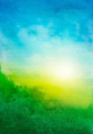抽象的なグリーン ブルー水彩背景 写真素材