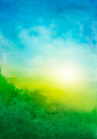 Abstract green blue watercolor background Imagens - 69848448