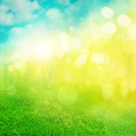 blue green background: Abstract nature green blue yellow background Stock Photo
