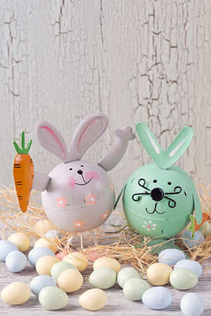 photo: Easter decoration on a wooden background