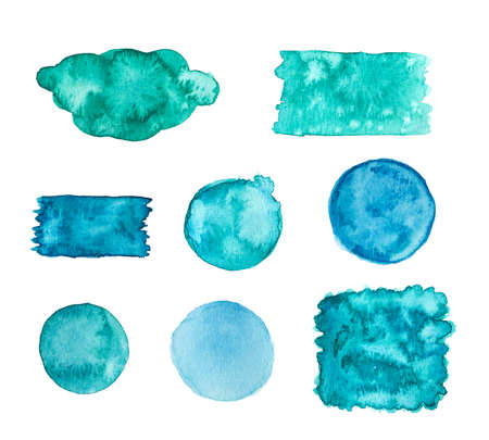 Blue green watercolor banners isolated on a white background