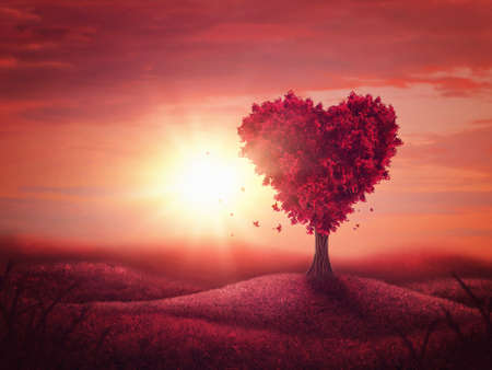 Red landscape with heart love tree Banque d'images