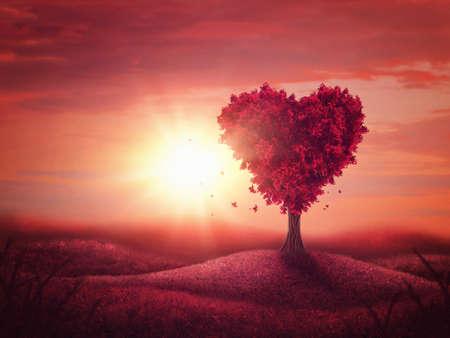 Red landscape with heart love tree Standard-Bild