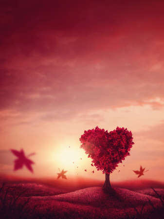 Red landscape with heart love tree Stockfoto