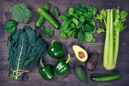 Alkaline foods above the wooden background Zdjęcie Seryjne